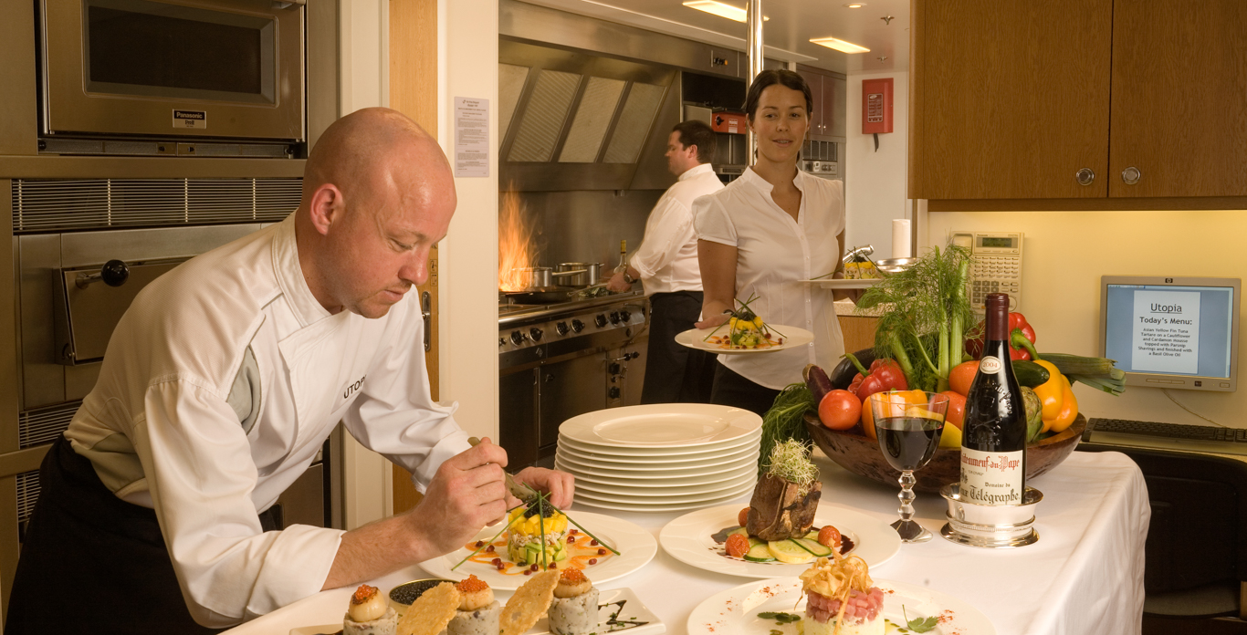 Chef preparing gourmet meals on Luxury yacht charters
