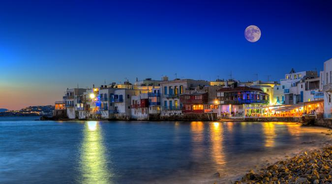 Greek Island in the evening