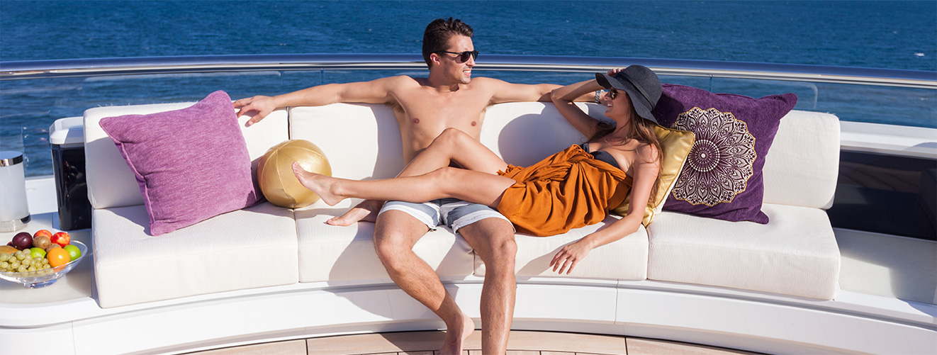 honeymoon couple on a super yacht charter