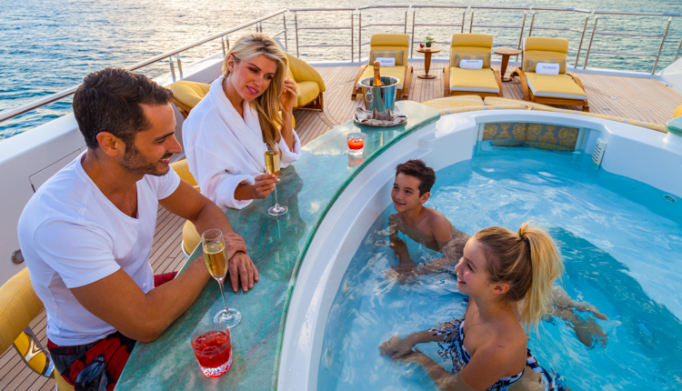 Families on a luxury yacht charter vacation