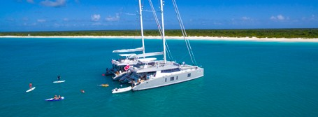 Catamarans anchored off Barbuda