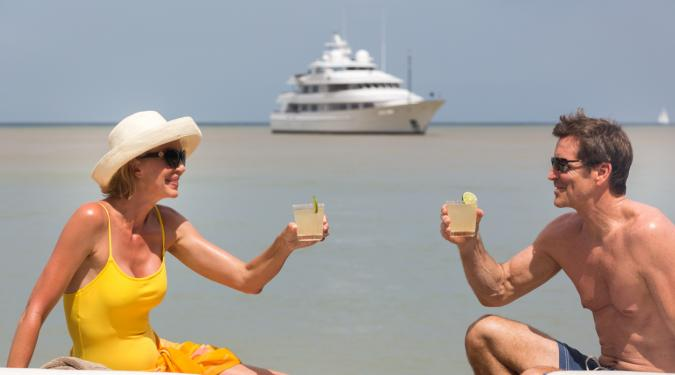 honeymoon on a yacht in the Bahamas