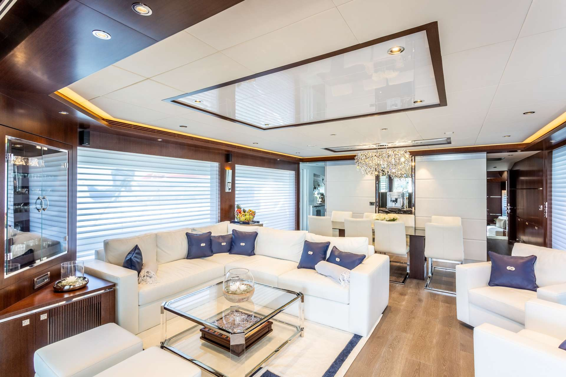 Main salon on BVI Motor Yacht Charter