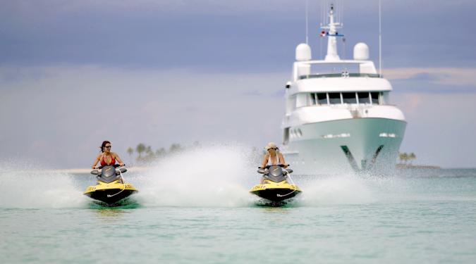 jet skis from a Bahamas motor yacht