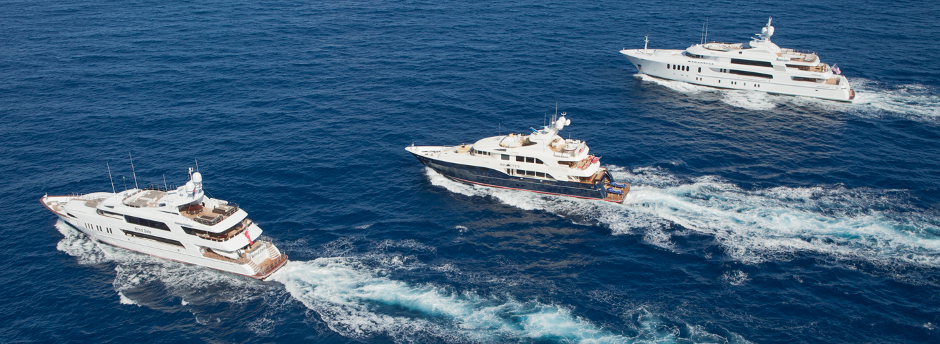 Superyachts Cruising in Company in the Bahamas