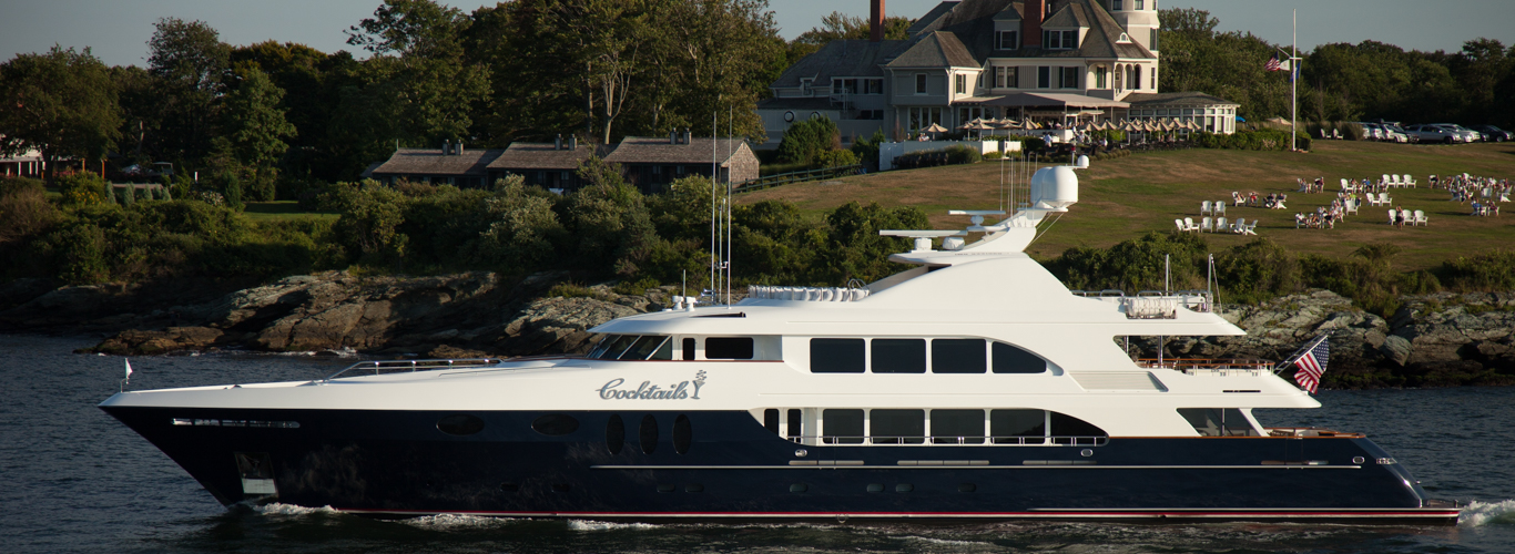 luxury motor yacht in Newport