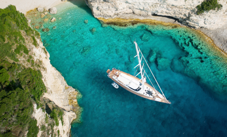 Greece sailing yacht at anchor