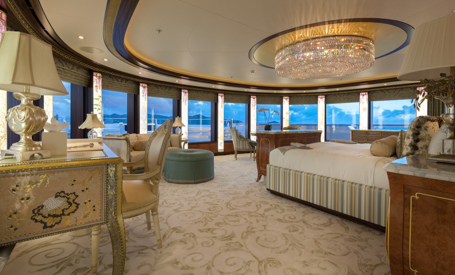 master suite on a megayacht charter
