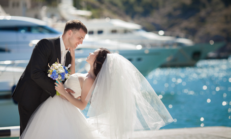 couple getting married on a yacht