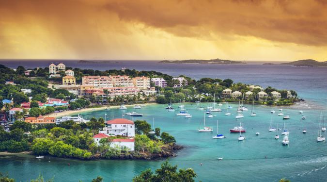 charter yachts anchored off Ritz Carleton St. Thomas