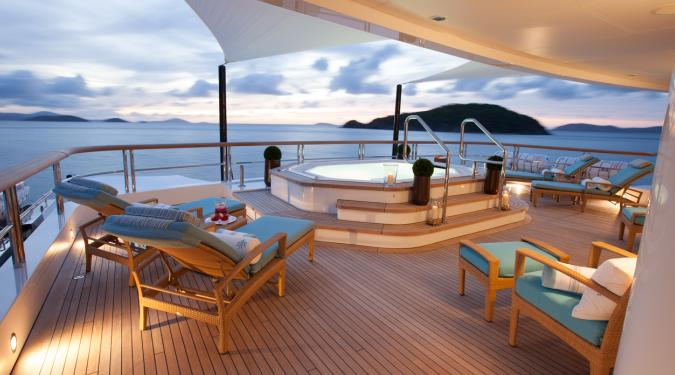 sundeck on motor yacht charter in Virgin Islands