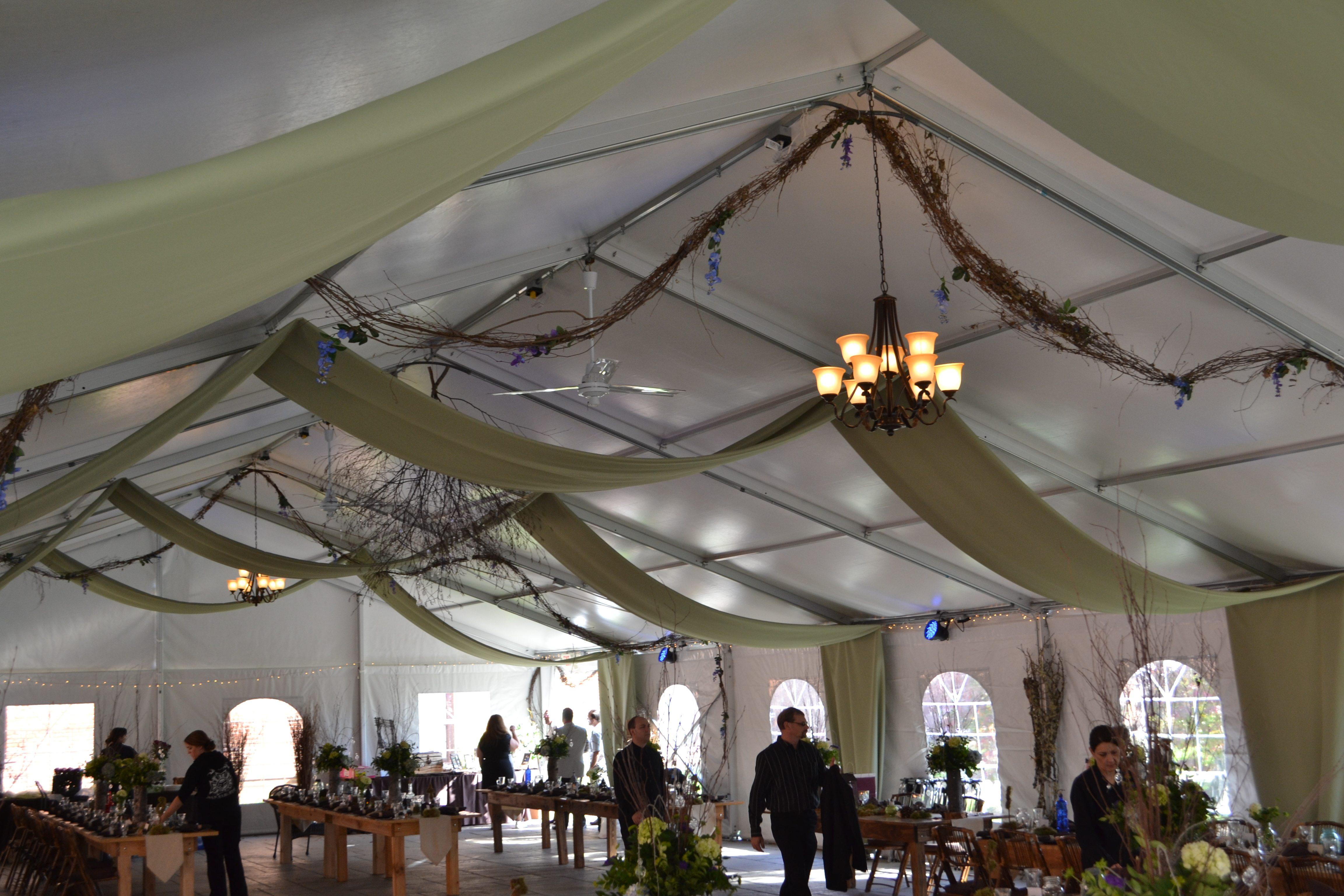 Ocean Tents Fabric Swag W Twinkle Lighting