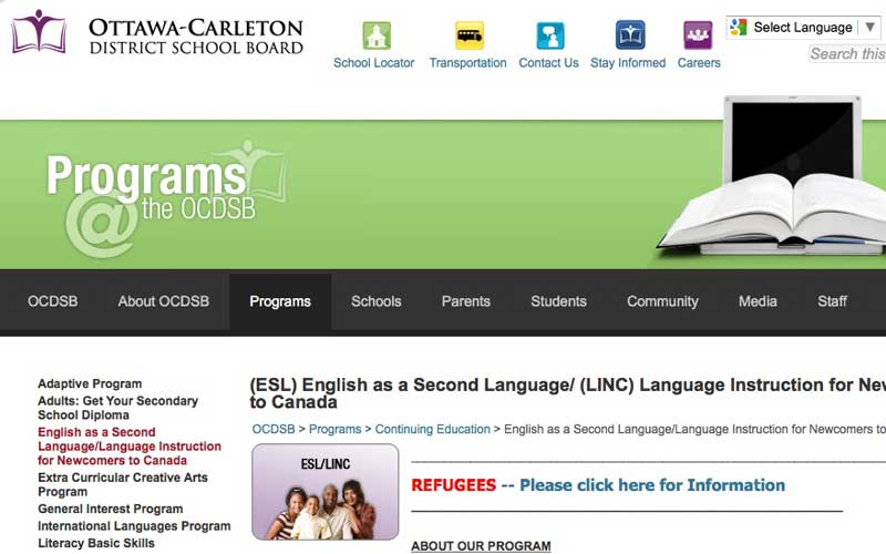 Ottawa Carleton District School Board LINC/ESL for Adults