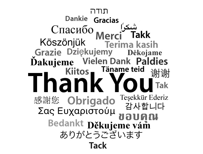 Image of thank you in different languages