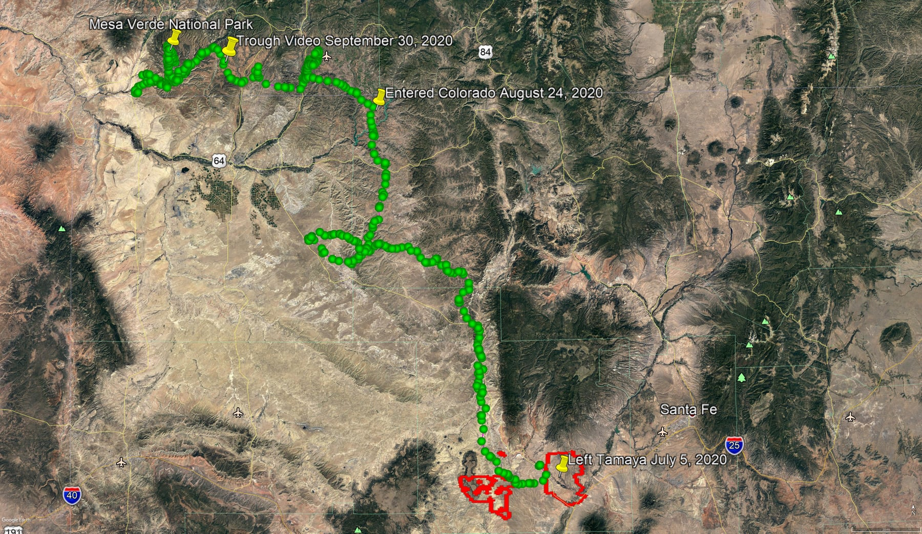 map of mountain lion journey