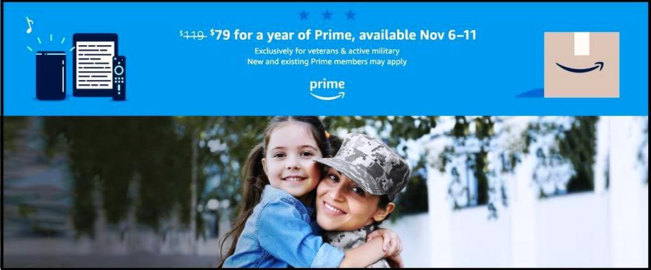 Amazon Prime Veterans Day $40 Discount