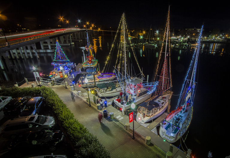 Christmas light boats