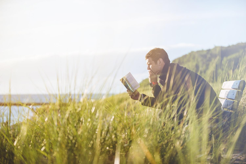 man reading, book