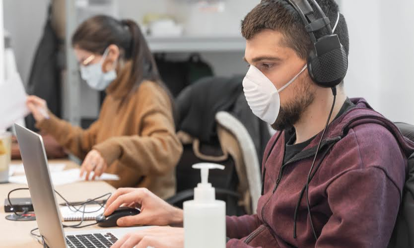 Office Employees in Masks