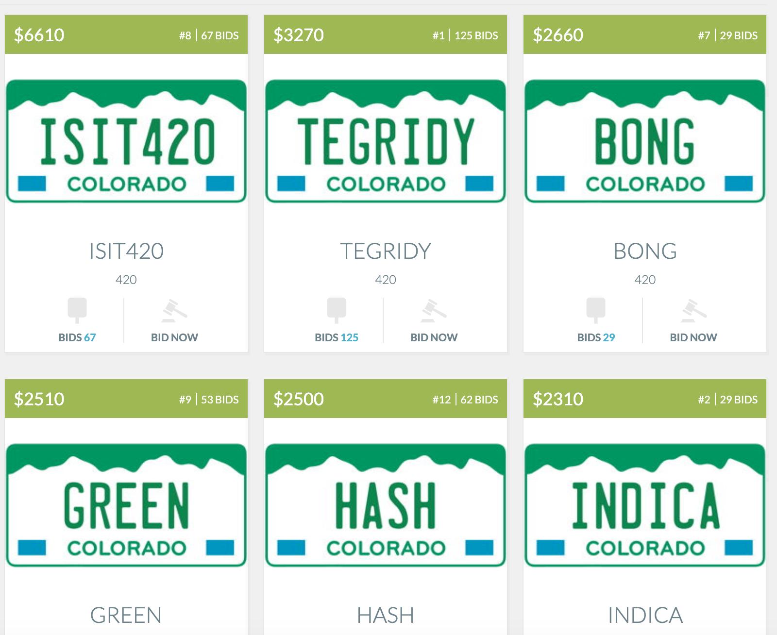 marijuana-themed license plates