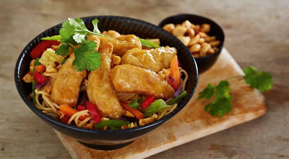 vegan noodles, tofu