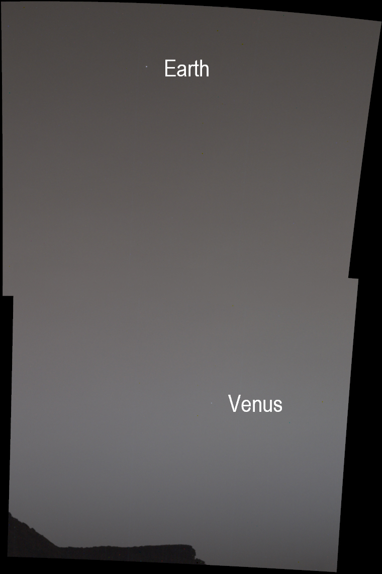 Earth and Venus, as seen from Mars