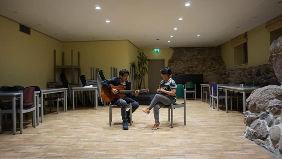 people practicing music