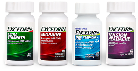 Bottles of Excedrin products