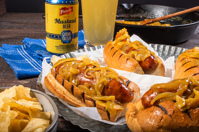French's Mustard beer and sausages