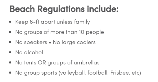 Some regulations published by the Virginia Beach Visitor website (Current May 26, 2020)