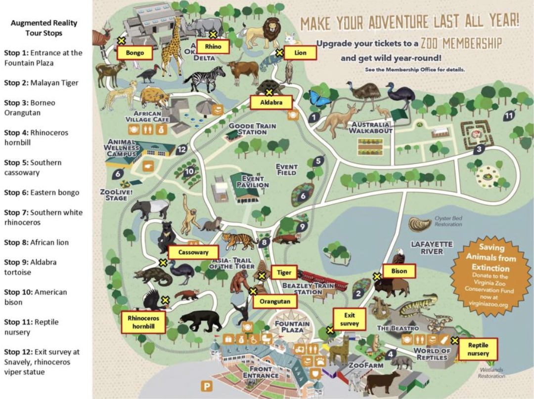 Virginia Zoo augmented reality tour map