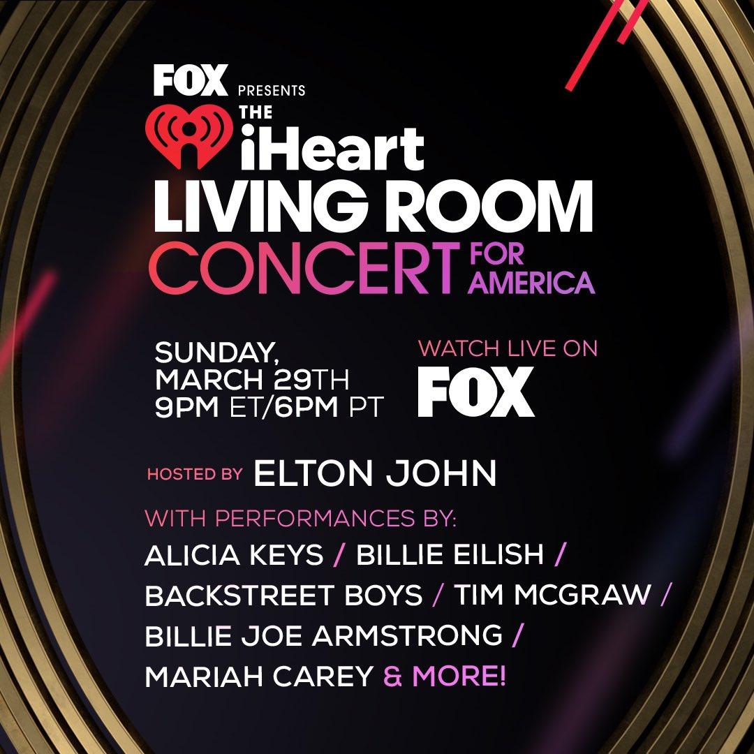 iHeart Living Room Concert for America Elton John Mariah Carey Billie Eilish Live March 29 on FOX TV