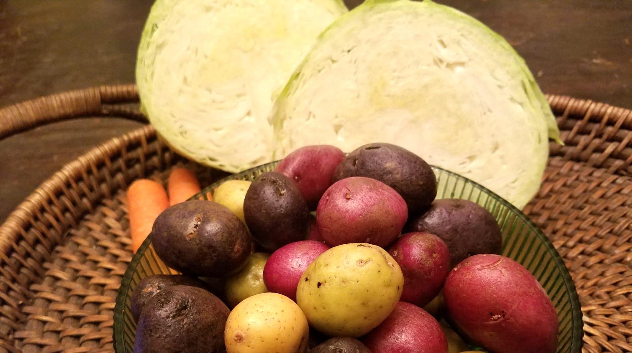potatoes, cabbage