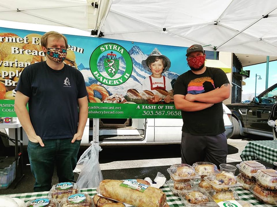 farmers market vendor in mask