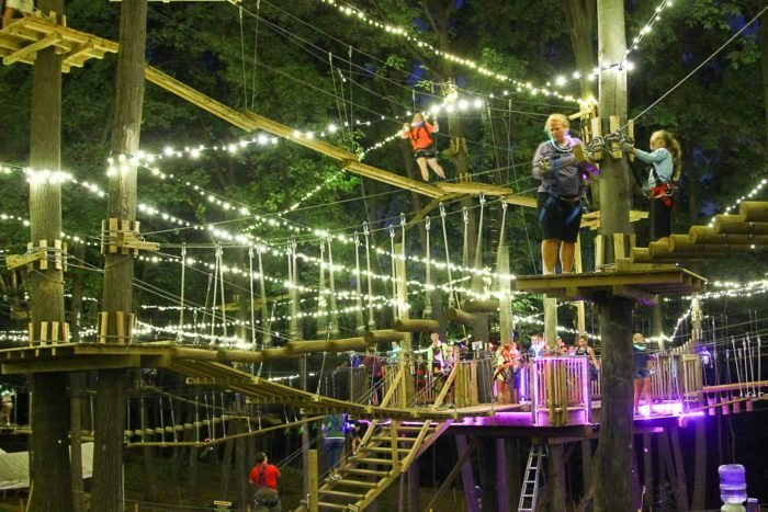 ropes course at night