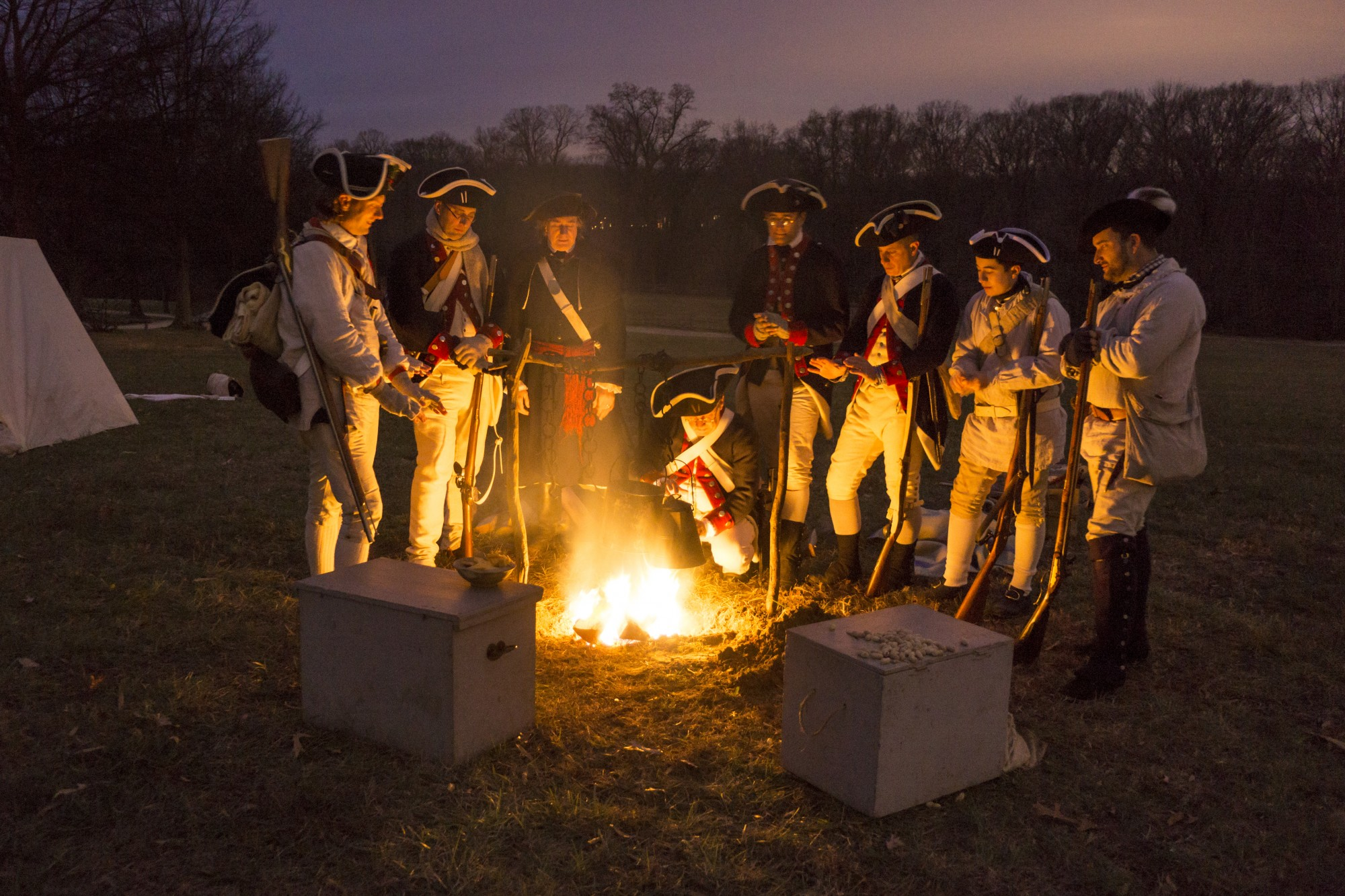 soldiers, bonfire