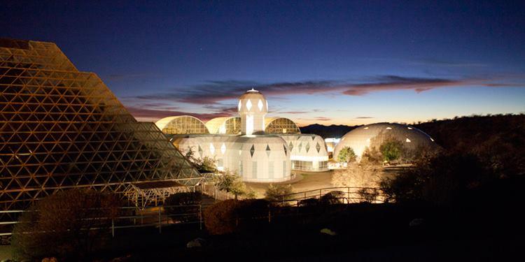 Biosphere 2 at night