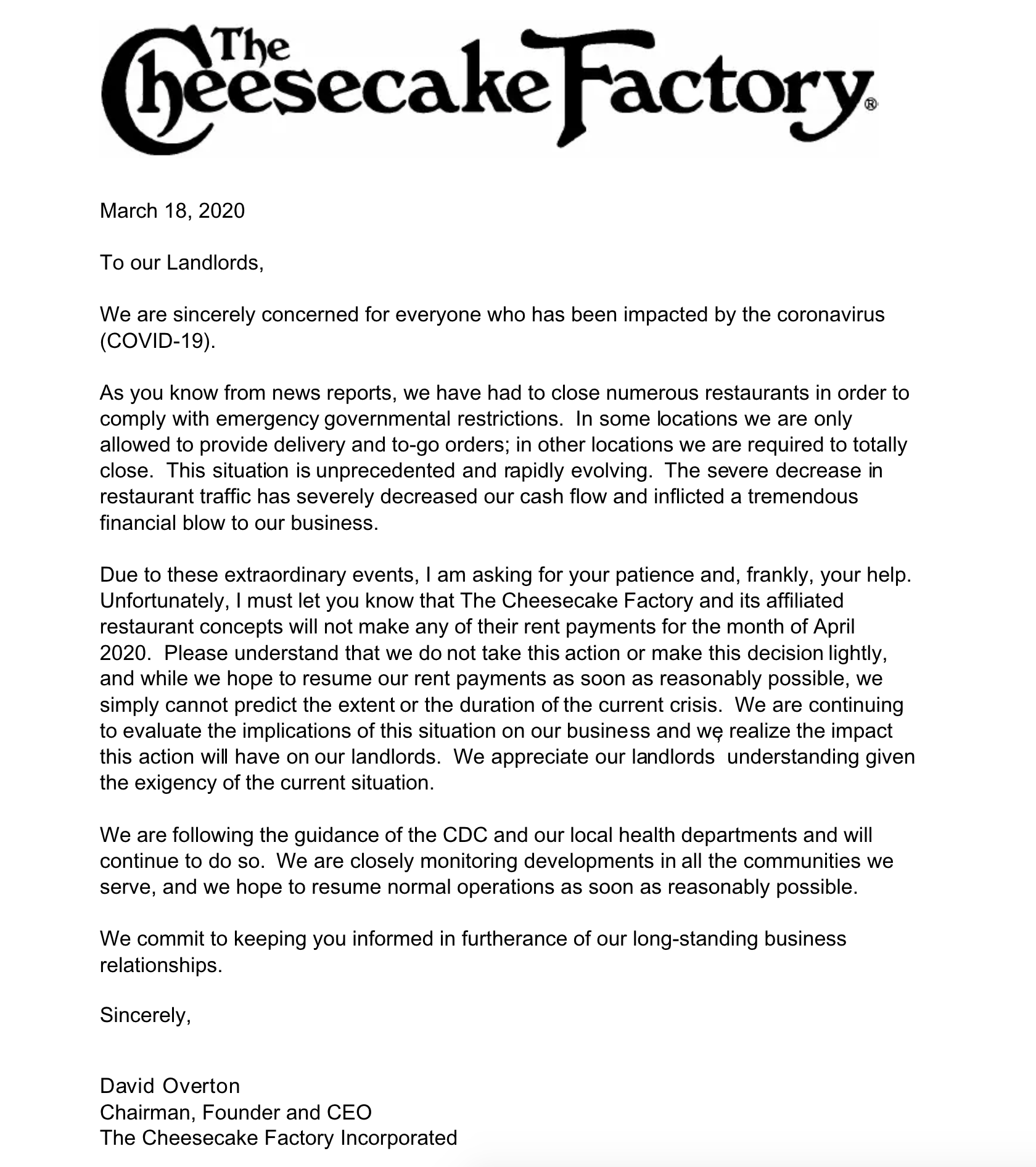 The Cheesecake Factory Shuts Down Its Stores
