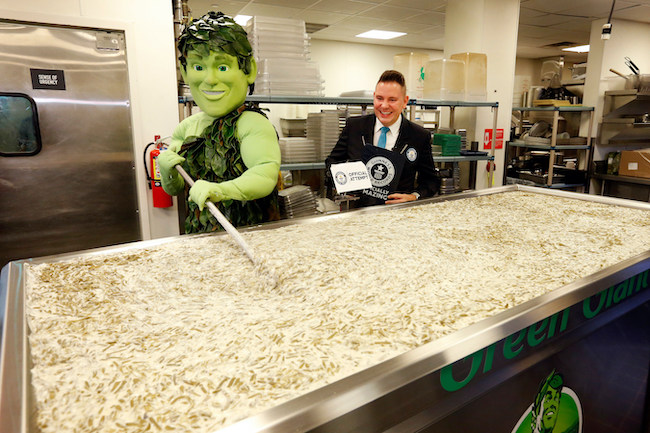 The Green Giant stirring up the casserole.
