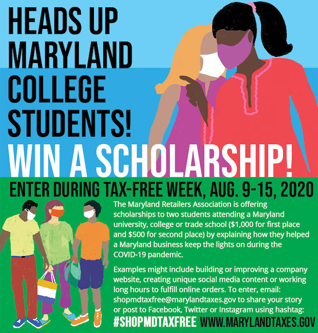 Maryland Tax-Free Week Scholarship Graphic