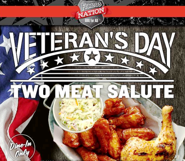 Famous Dave's Restaurant Veterans Day 2019 Two Meat Salute Barbaque