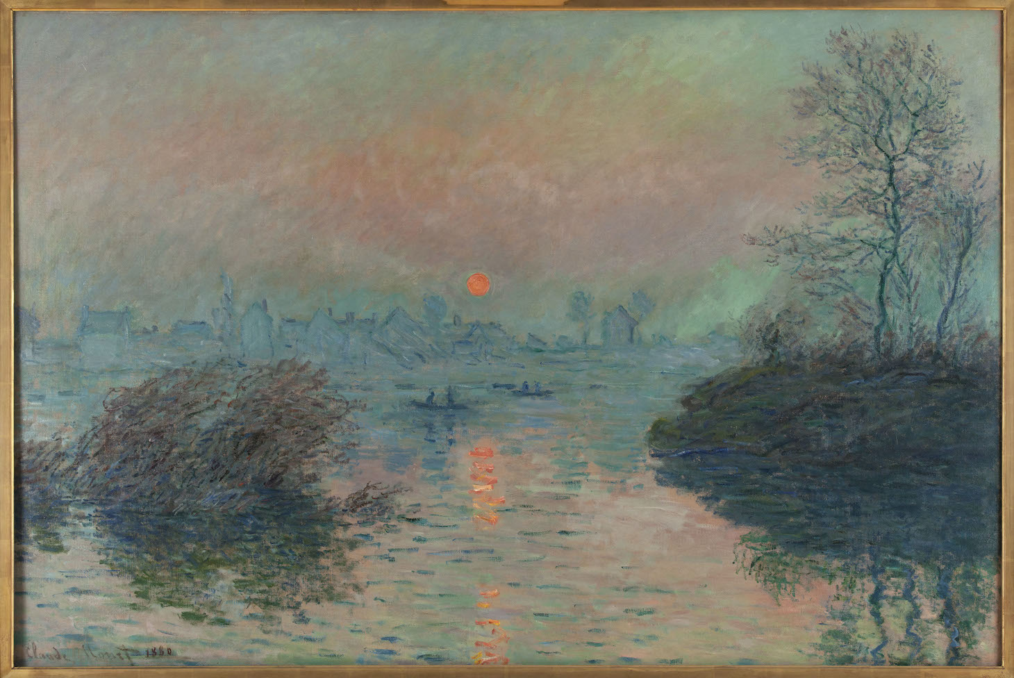 """Setting Sun on the Seine at Lavacourt"" by Claude Monet (1880), oil on canvas, part of the collection at Petit Palais, Paris"