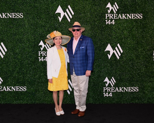 Governor Larry Hogan and First Lady Yumi Hogan at the Preakness Stakes, May 18, 2019