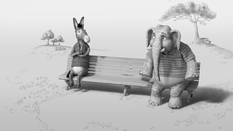 CNN's donkey and elephant on a bench