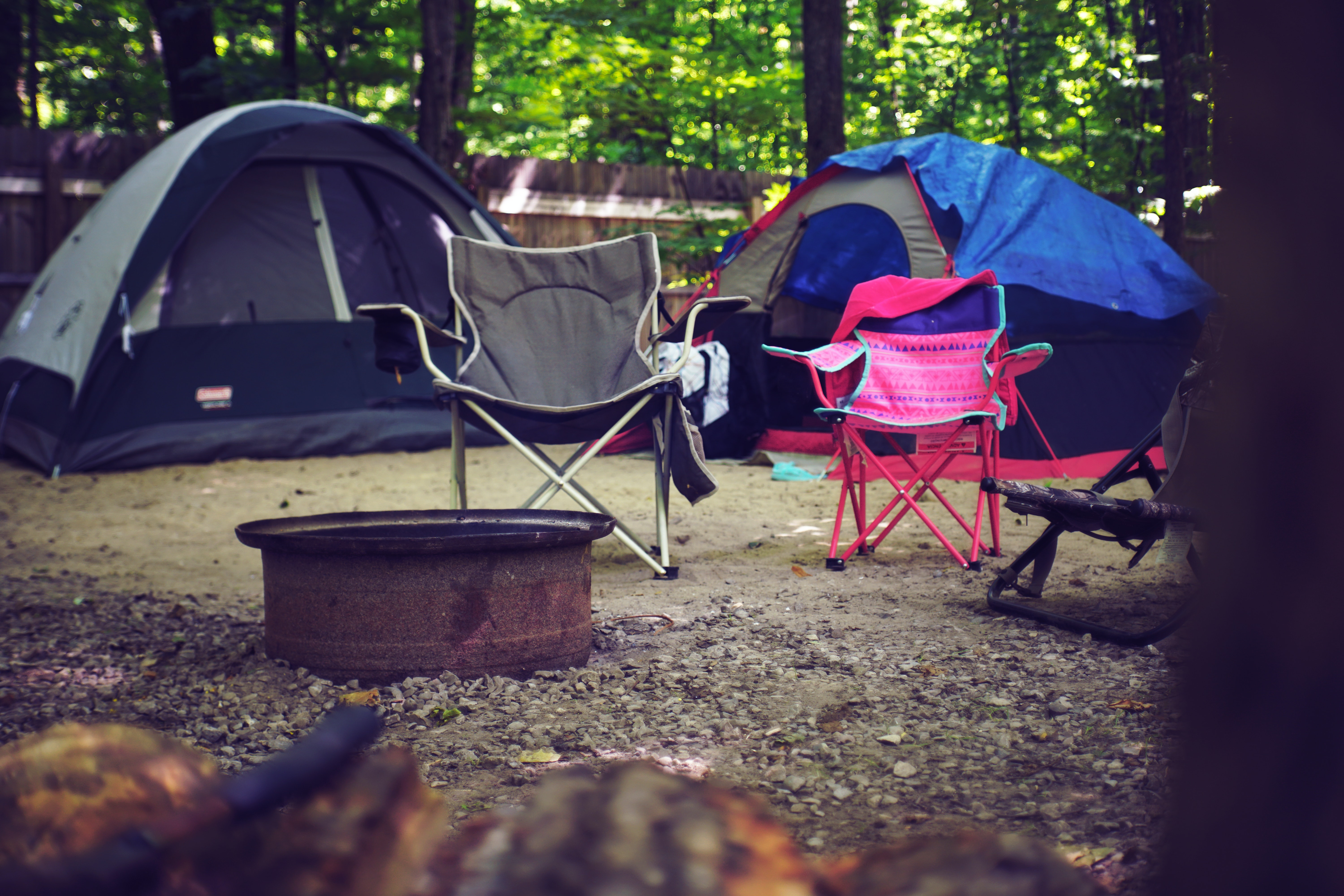 campsite with chairs