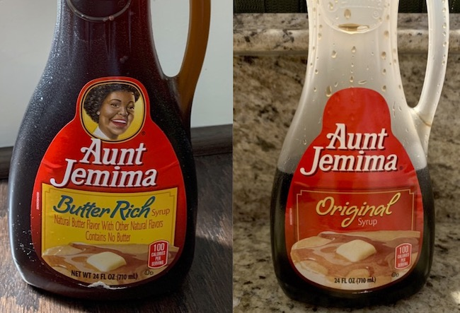 Aunt Jemima bottle, before and after