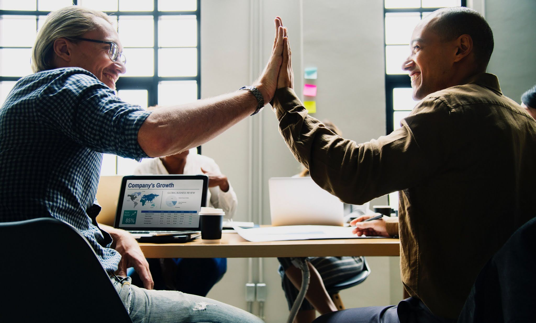 Business collaboration high five