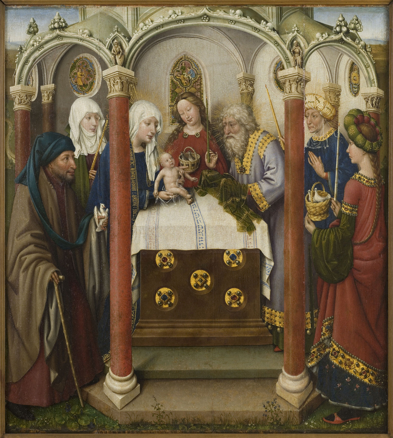 """Presentation in the Temple"" by Jacques Daret (1434-1435), oil on wood, part of the collection at Petit Palais, Paris"