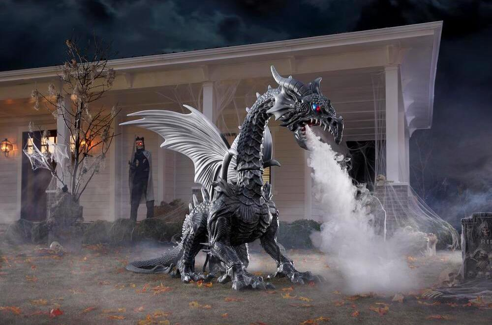 Home Depot S Massive Fog Breathing Dragon Decoration Will Be The Envy Of Your Neighbors This Halloween