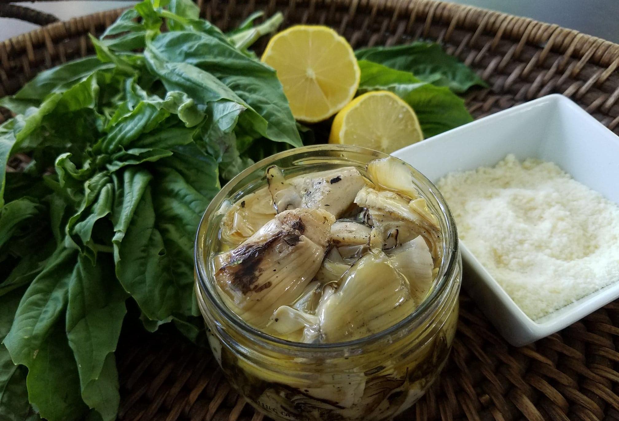 basil, lemon, artichoke hearts
